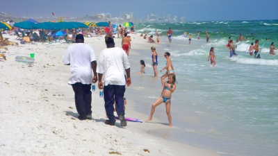 Contracted BP Oil workers on Destin beach