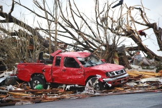 Pickup truck damaged in Joplin tornado
