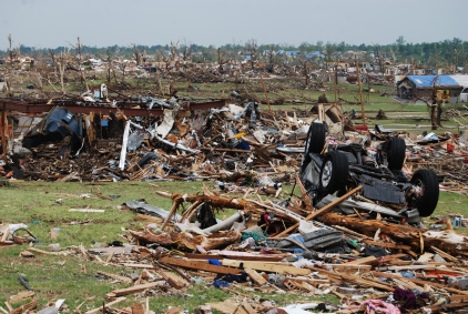Tornado damage in Joplin, MO for as far as the eye can see