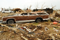 Flattened station wagon in Joplin, MO