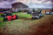 Vehicles strewn in front of Joplin hospital