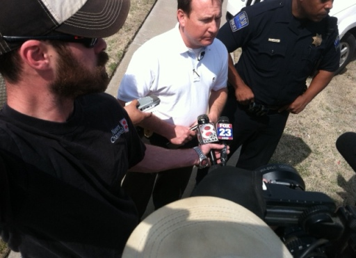 Tulsa County Sheriff's spokesman briefs media during school lockdown