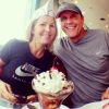 Michelle's birthday sundae at Ruby's Diner in Huntington Beach